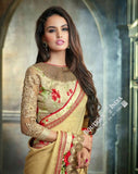 Sarees - Golden Yellow And Red Net and Chiffon Embroided - Boutique4India Inc.