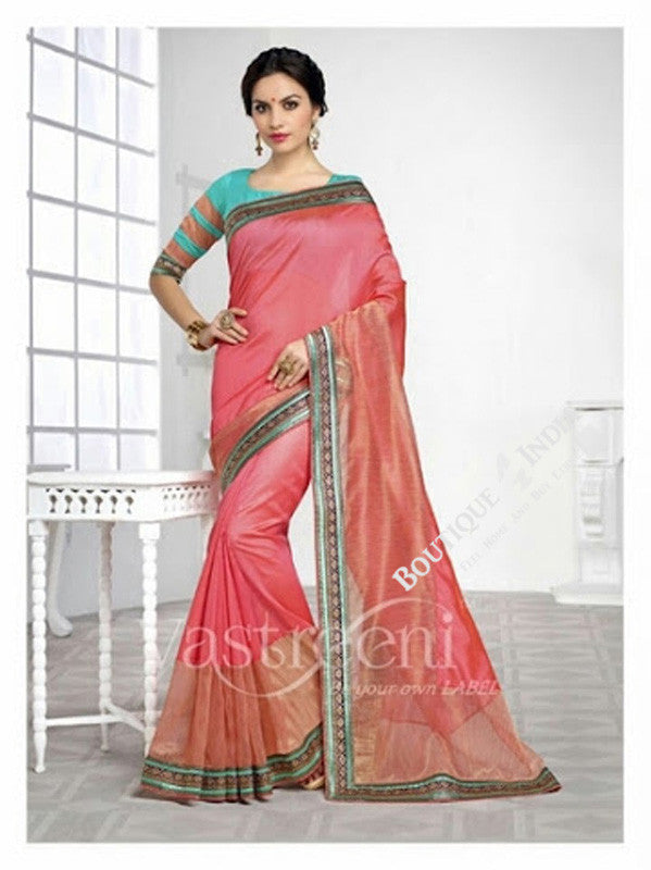 Chiffon Silk Saree in Peach, Pink, Orange Shade and Blue - Boutique4India Inc.