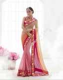Sarees - Pink, Hot Pink And Golden Bridal Collections - Resplendent Bridal Designer Wedding Special Collections / Wedding / Party / Special Occasions / Festival - Boutique4India Inc.