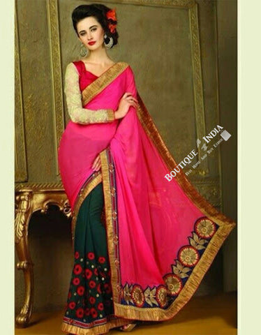 Sarees - Net and Chiffon with Pink / Purple / Red and Golden - Boutique4India Inc.