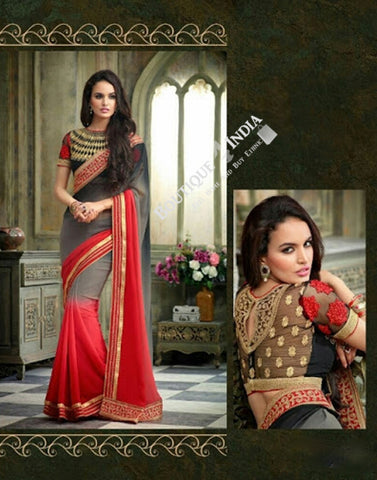 Sarees - Grey, Hot Red And Golden Net and Chiffon - Boutique4India Inc.