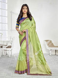 Chiffon Silk and Net Embroidered Saree in Green and Blue - Boutique4India Inc.