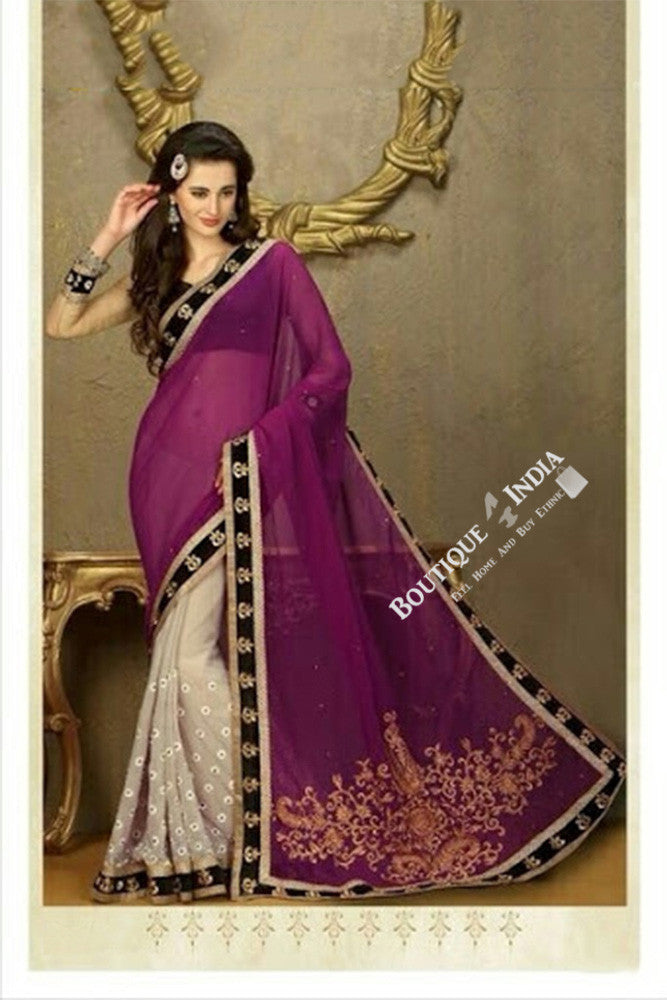 Sarees - Net and Chiffon with Purple Color - Boutique4India Inc.