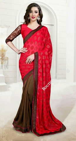 Reversible Silk and Faux Georgette Saree in Brown Orange and Red - Boutique4India Inc.