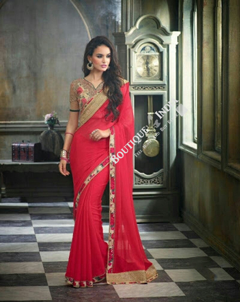 Sarees - Rose Red And Golden Embroidery And Shaded Designer Collections - Boutique4India Inc.