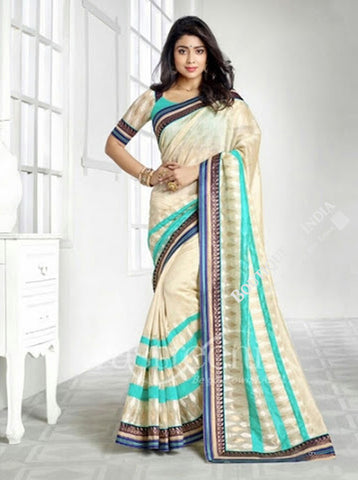Chiffon Silk and Net Saree in Half White and Blue Shades - Boutique4India Inc.