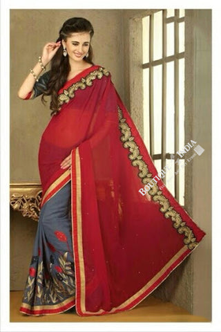 Sarees - Maroon, Bluish Grey, Net and Chiffon - Boutique4India Inc.