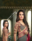 Sarees - Grey, Pink Net and Chiffon Embroidered - Boutique4India Inc.
