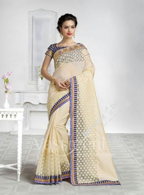 Chiffon Silk and Net Saree in Half White and Blue - Boutique4India Inc.