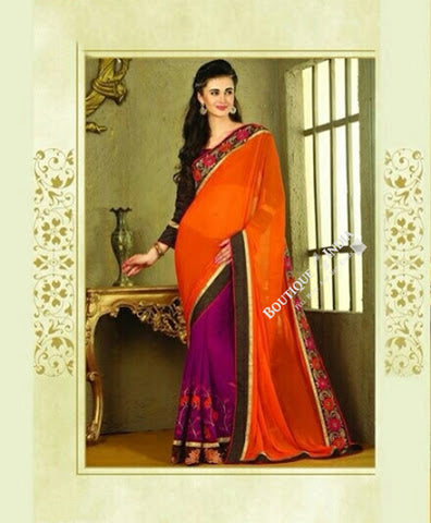 Sarees - Orange And Purple Net and Chiffon - Boutique4India Inc.