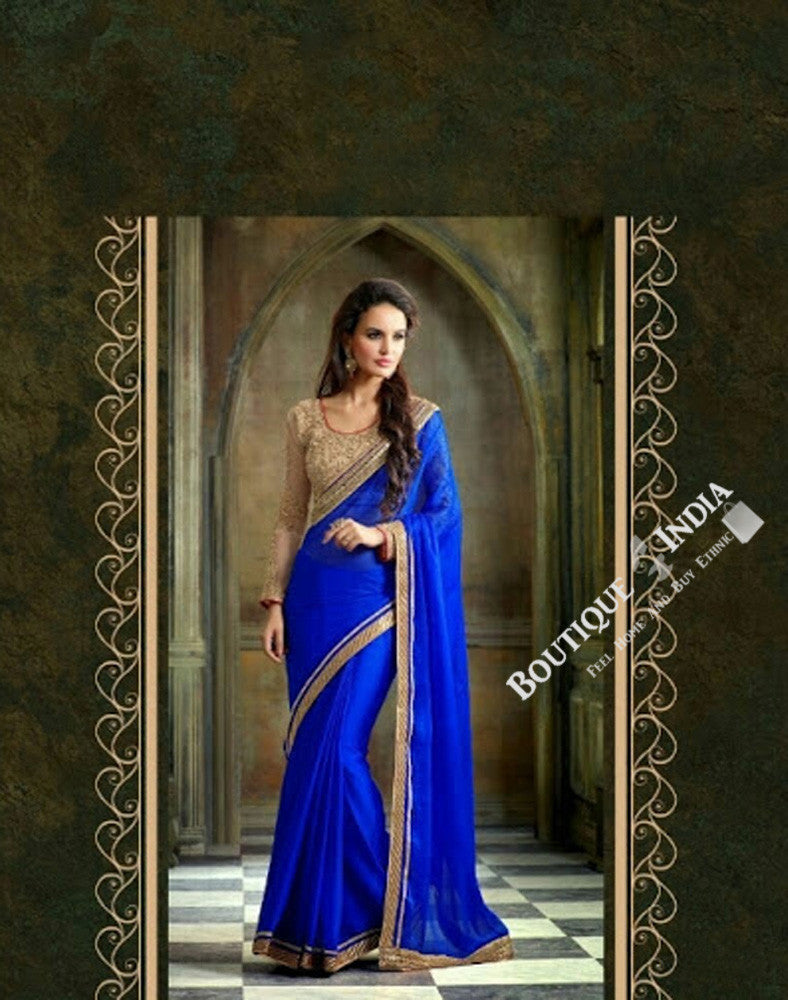Sarees - Elegant Blue And Golden Net and Chiffon - Boutique4India Inc.