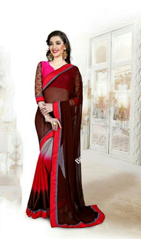 Reversible Silk and Faux Georgette Saree in Pink Red and Brown - Boutique4India Inc.