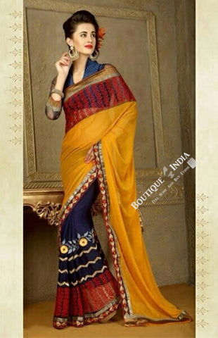 Sarees - Golden Yellow, Blue And Maroon Net Chiffon - Boutique4India Inc.