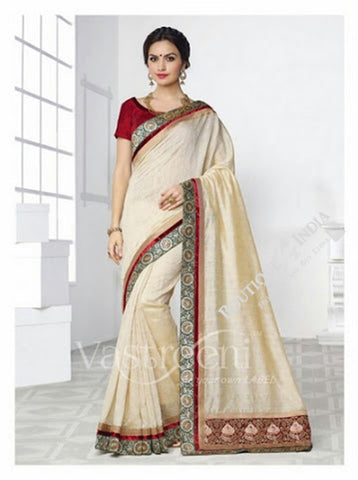 Chiffon Silk and Net Saree in Half White and Maroon - Boutique4India Inc.