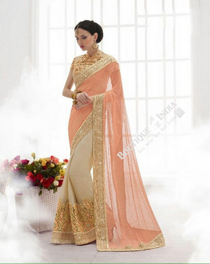 Sarees - Peach/ Pink And Golden Bridal Collections - Resplendent Bridal Designer Wedding Special Collections / Wedding / Party / Special Occasions / Festival - Boutique4India Inc.