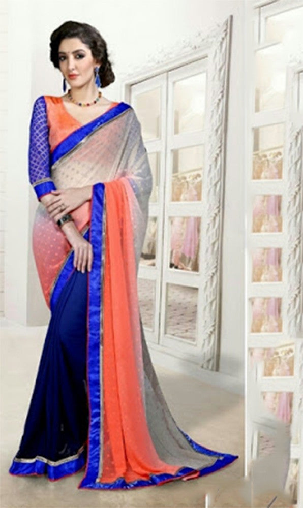 Reversible Silk and Faux Georgette Saree in Blue, Orange and Peach - Boutique4India Inc.