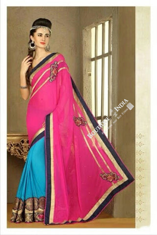 Sarees - Net and Chiffon with Pink, Blue and Golden Color - Boutique4India Inc.