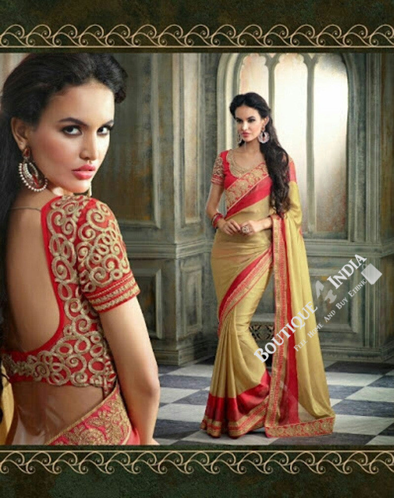 Sarees - Net and Chiffon with Orange Shade and Golden - Boutique4India Inc.