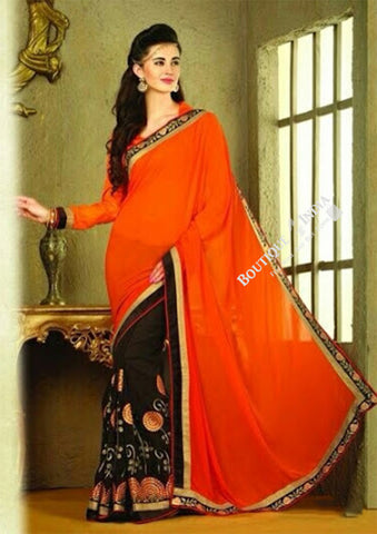 Sarees - Net and Chiffon with Orange, Black And Golden Color - Boutique4India Inc.