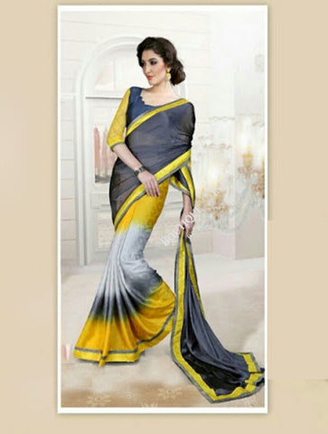 Reversible Silk and Faux Georgette Saree in Yellow and Grey - Boutique4India Inc.