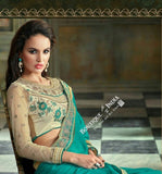 Sarees - Net and Chiffon with Turquoise And Golden Color - Boutique4India Inc.