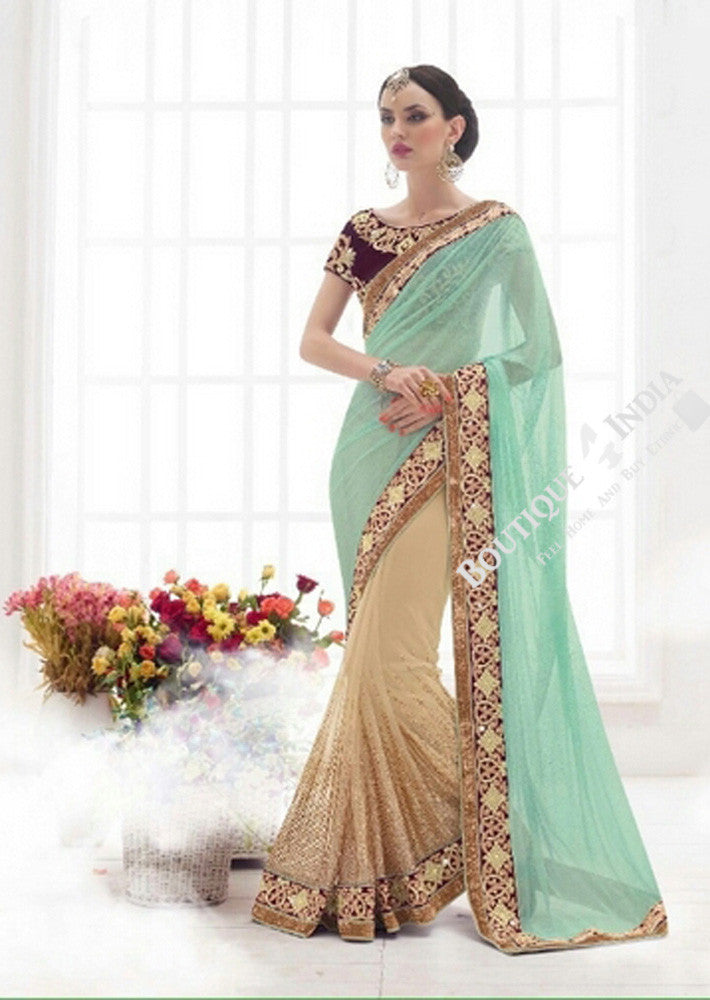 Sarees - Sea Blue, Royal Purple And Golden Bridal Collections - Resplendent Bridal Designer Wedding Special Collections / Wedding / Party / Special Occasions / Festival - Boutique4India Inc.