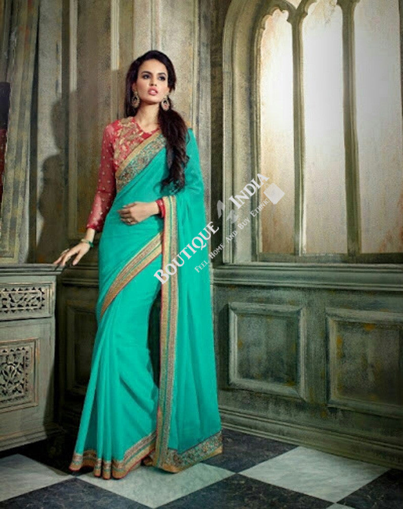 Sarees - Blue, Red And Golden Net and Chiffon - Boutique4India Inc.
