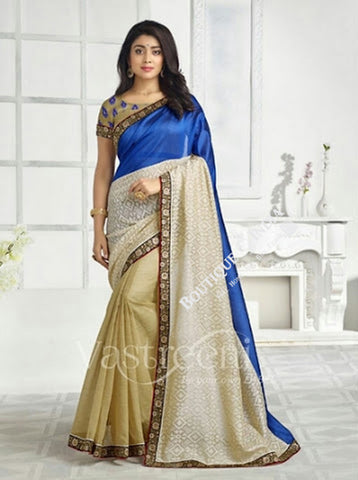 Chiffon Silk and Net Embroidered Saree in Blue, Creamand Half White - Boutique4India Inc.