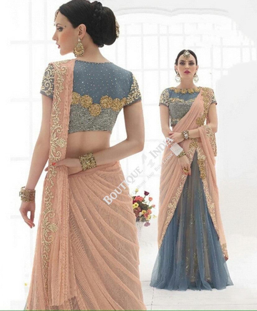 Sarees - Peach/ Pink, Grayish Blue And Golden Bridal Collections - Resplendent Bridal Designer Wedding Special Collections / Wedding / Party / Special Occasions / Festival - Boutique4India Inc.