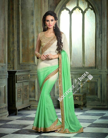 Sarees - Green, Cream, Golden Net and Chiffon - Boutique4India Inc.