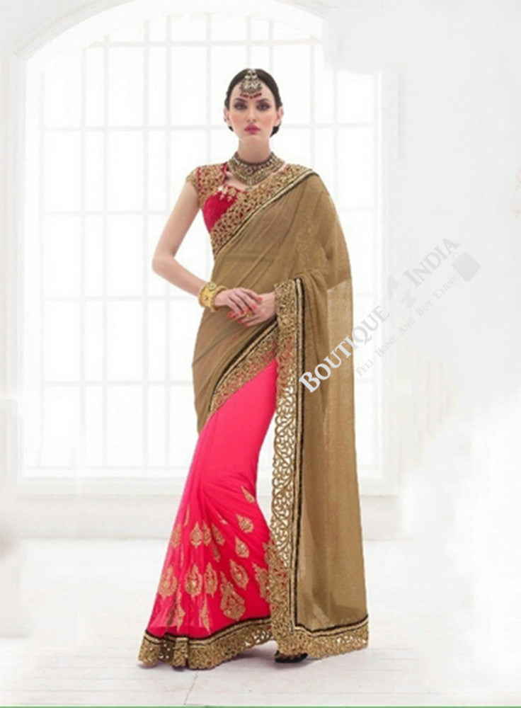 Sarees - Pink, Ruby Red And Golden Bridal Collections - Resplendent Bridal Designer Wedding Special Collections / Wedding / Party / Special Occasions / Festival - Boutique4India Inc.