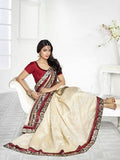 Chiffon Silk and Net Embroidered Saree in Half White, Maroon and Green - Boutique4India Inc.