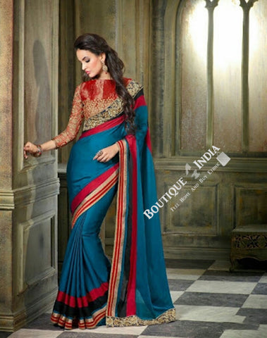 Sarees - Blue Hot Red Black And Golden Net and Chiffon - Boutique4India Inc.