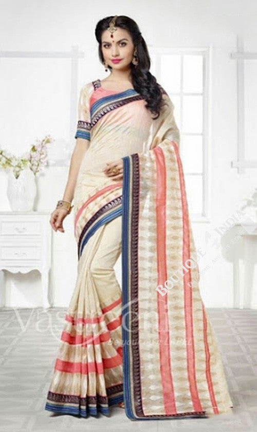 Chiffon Silk and Net Embroidered Saree in Cream, Blue and Pink - Boutique4India Inc.
