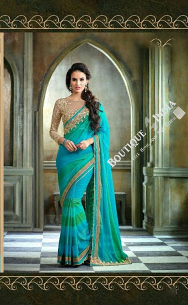 Sarees - Net and Chiffon with Peacock Blue and Green - Boutique4India Inc.
