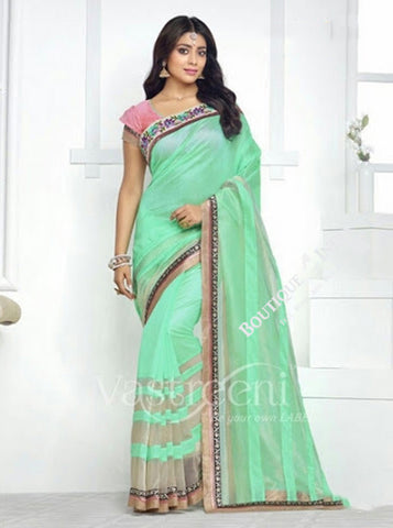 Chiffon Silk and Net Embroidered Saree in Pista Green and Pink - Boutique4India Inc.
