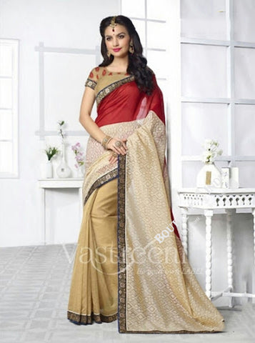Chiffon Silk and Net Saree in Maroon, Cream and Blue - Boutique4India Inc.