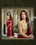 Sarees - Maroon and Golden Embroidered Net and Chiffon - Boutique4India Inc.