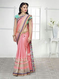 Chiffon Silk and Net Embroidered Saree in Pink and Blue - Boutique4India Inc.