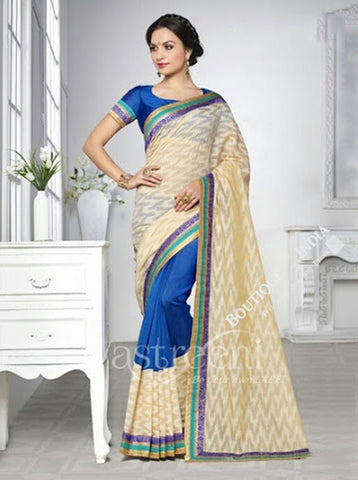 Chiffon Silk and Net Saree in Cream, Half White and Blue - Boutique4India Inc.