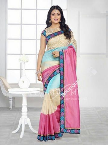 Chiffon Silk and Net Embroidered Saree in Pink, Blue and Cream - Boutique4India Inc.