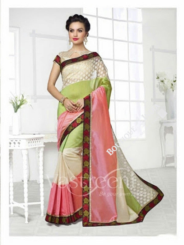 Chiffon Silk and Net Embroidered Saree in Cream Pink and Green - Boutique4India Inc.