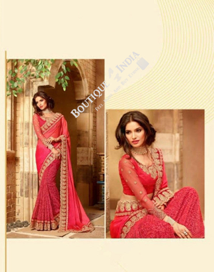Sarees - Pink, Red And Golden Stunning Bridal Designer Collections - Wedding / Party / Bridal - Boutique4India Inc.