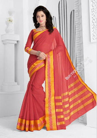 Trendy Cotton Silk Saree in Orangish Pink and Golden - Boutique4India Inc.