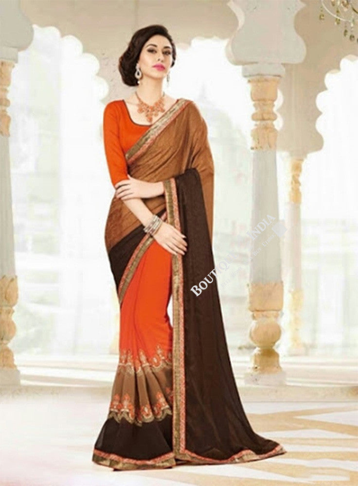 Sarees - Orange, Brown, Coffee Brown Designer Collections - Reversible Trendy Designer Collections / Wedding / Special Occassions / Festival / Party Wear - Boutique4India Inc.