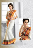 Ravishing Cotton Silk Saree in White and Orange - Boutique4India Inc.