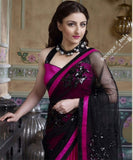Smooth-textured Net Chiffon Saree in hot Pink and Black - Boutique4India Inc.