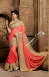 Sarees - Net and Chiffon Peach and Golden - Boutique4India Inc.