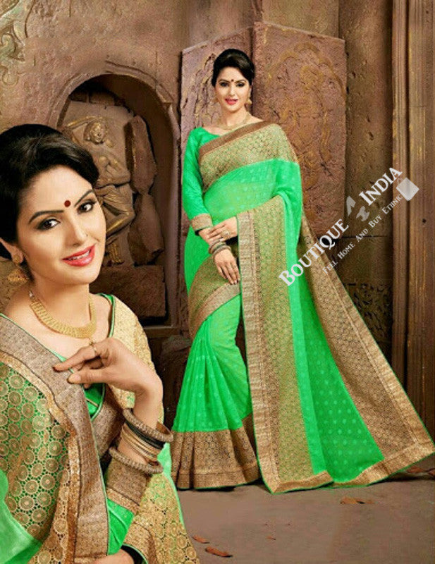 Sarees - Net and Chiffon with Light Green and Golden Color - Boutique4India Inc.