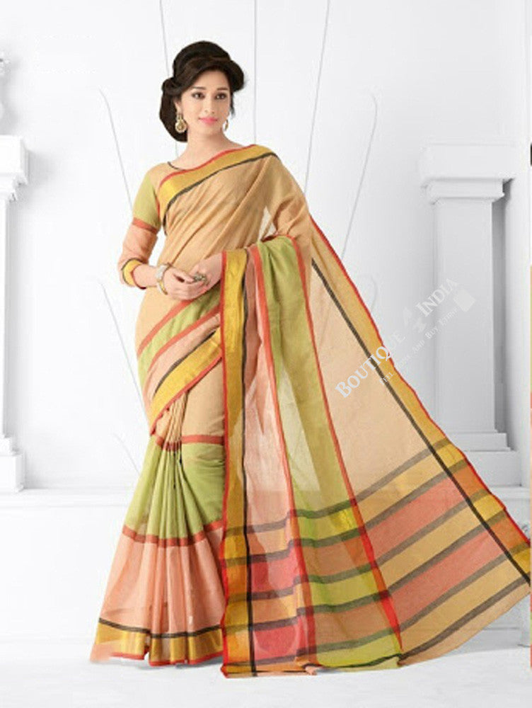 59dc197b6fd0f Trendy Cotton Silk Saree in Light Pink  Peach and golden - Boutique4India  Inc.